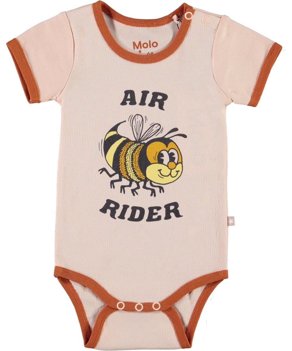 Fossie - Air Rider - Pink organic baby bodysuit bee print