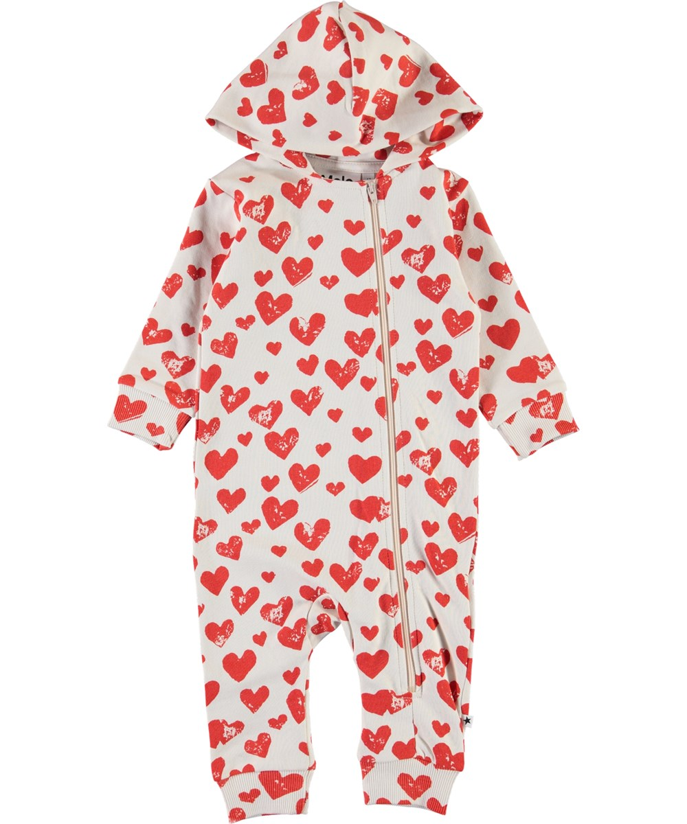 Fowo - All Is Love - Baby romper with hearts.
