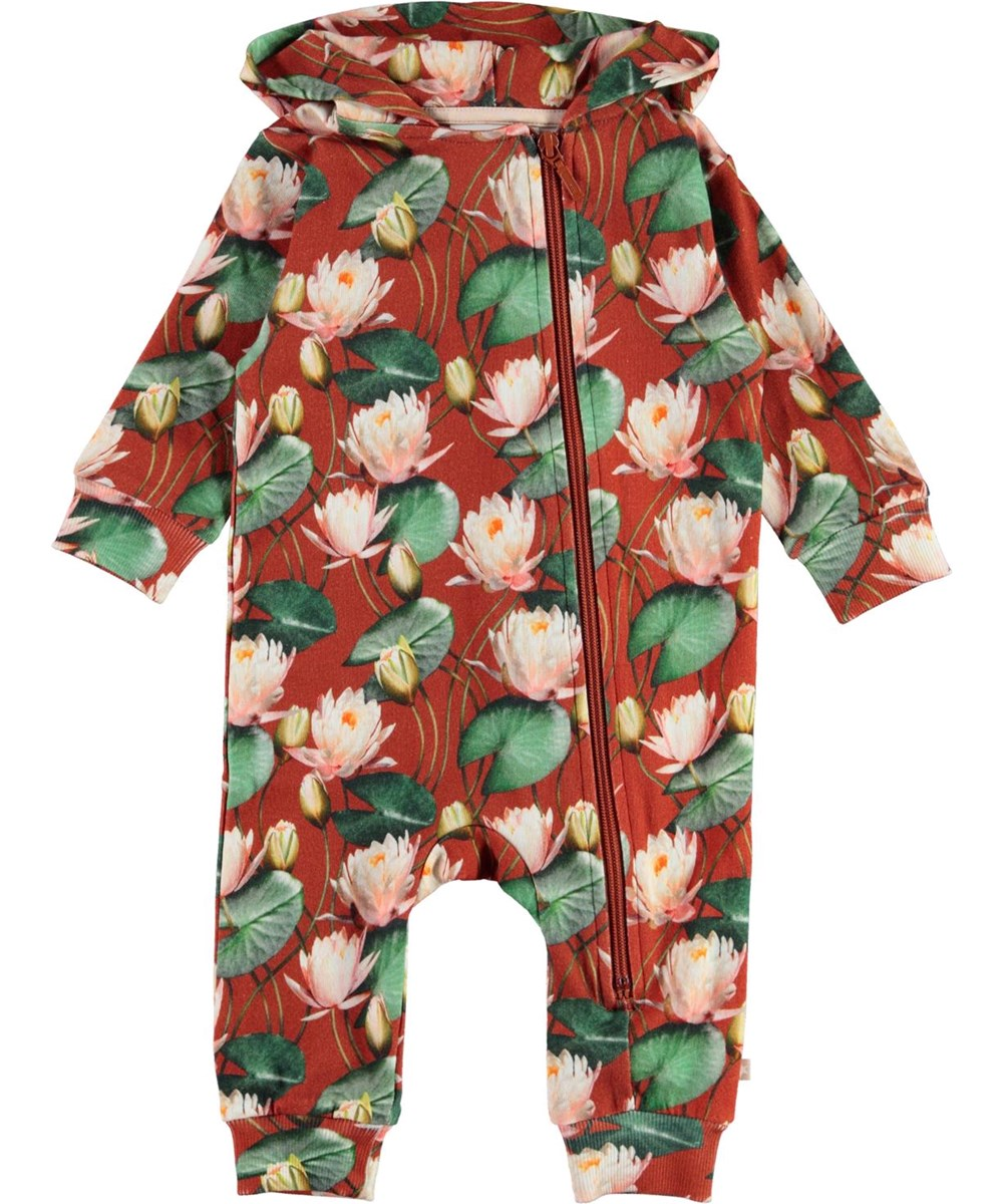 Fowo - Autumn Lily_Baby - Baby romper in pink with water lily print