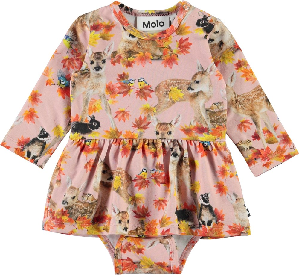 Frances - Autumn Fawns - Organic baby bodysuit in pink with animals and ruffle