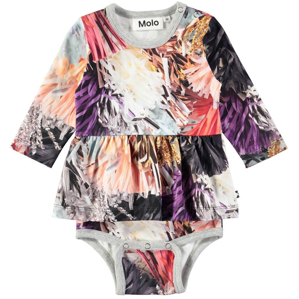 Frances - Celebration - Long sleeve baby bodysuit with digital print of festive tassles