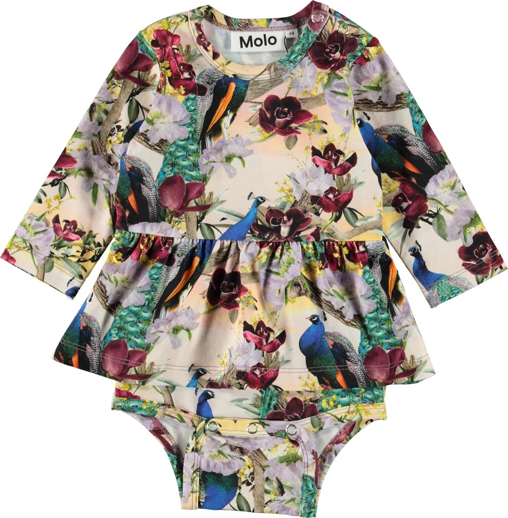 Frances - Oriental Peacocks - Baby bodysuit with peacocks.