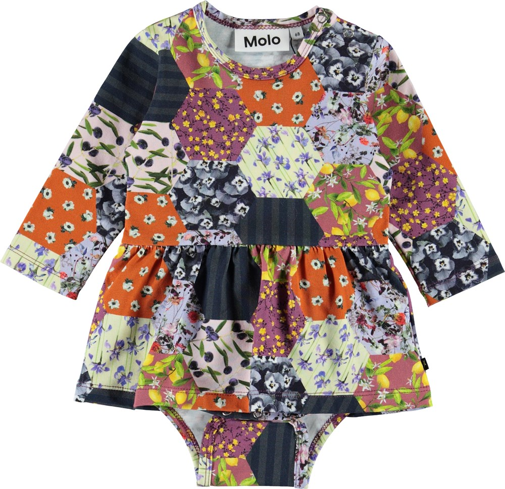 Frances - Patchwork - Organic baby bodysuit with patchwork and a peplum
