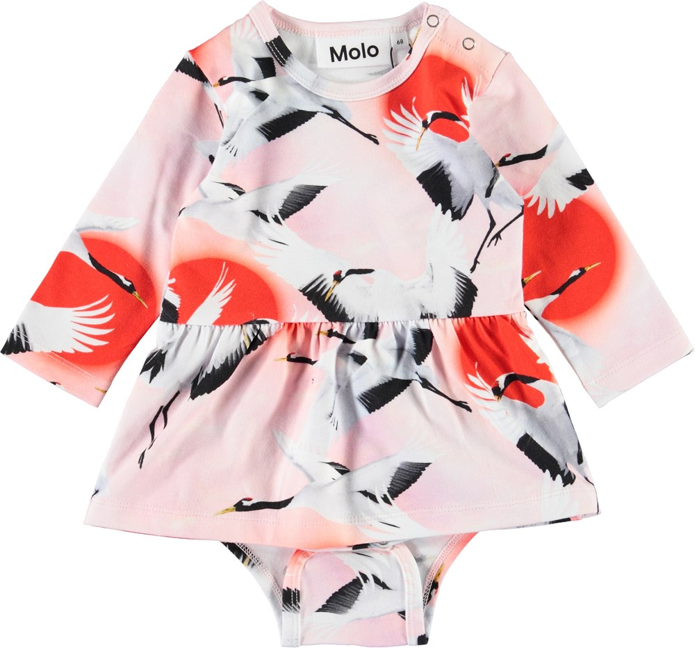 Frances - Sunrise Cranes - Pink baby bodysuit with bird print