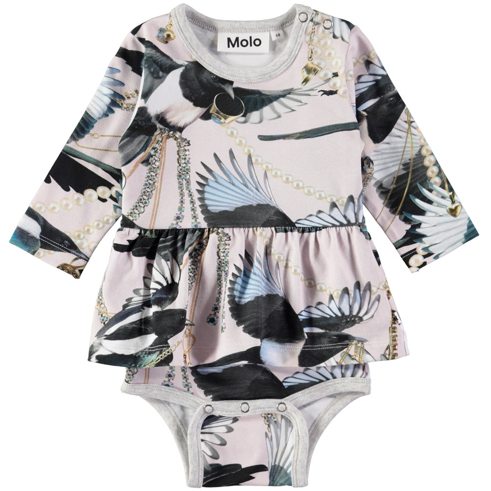 Frances - Treasure Hunters - Long sleeve baby bodysuit with digital magpie print and skirt