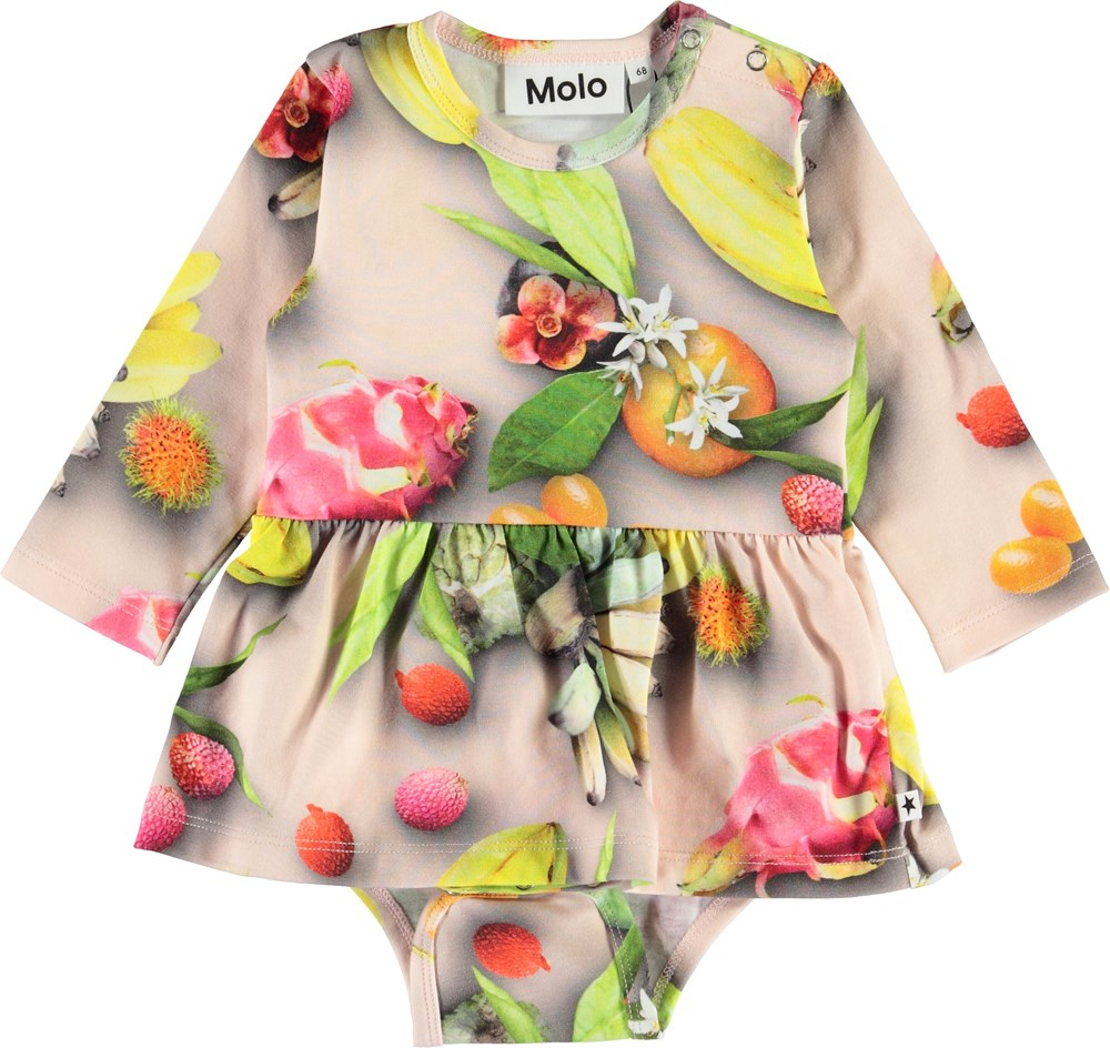 Frances - Tutti Frutti - Organic baby bodysuit with fruit and a peplum