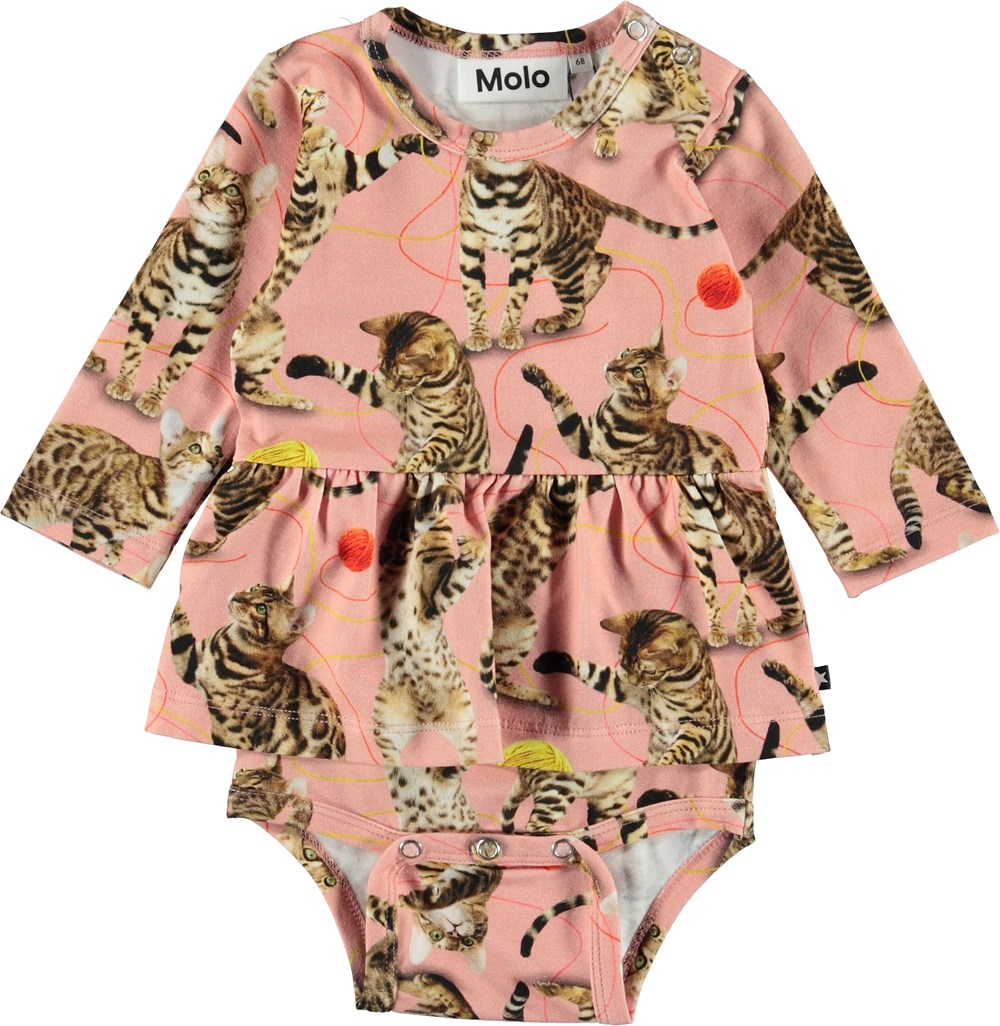 Frances - Wannabe Leopard - Pink baby bodysuit with cats.
