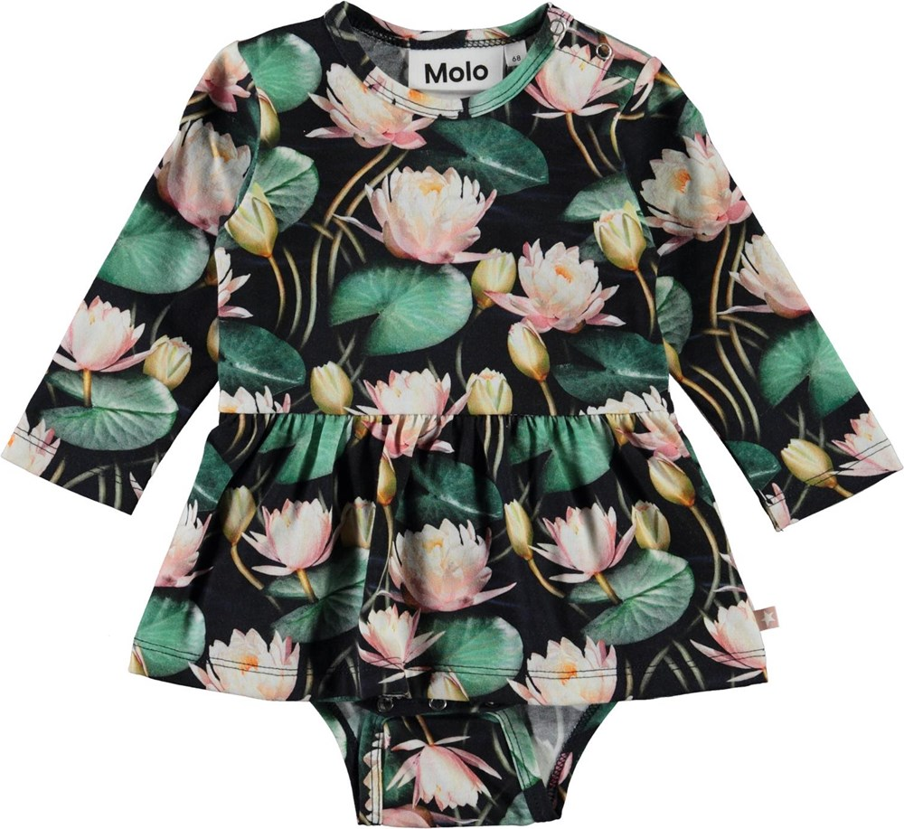 Frances - Water Lilies - Organic baby bodysuit with water lilies and ruffle