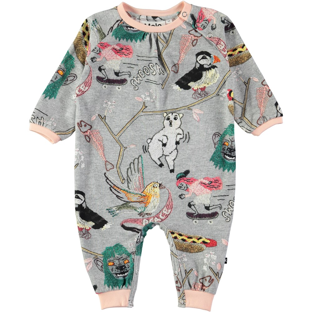 Francine - Made By Hand - Roomy baby romper with digital embroidery print