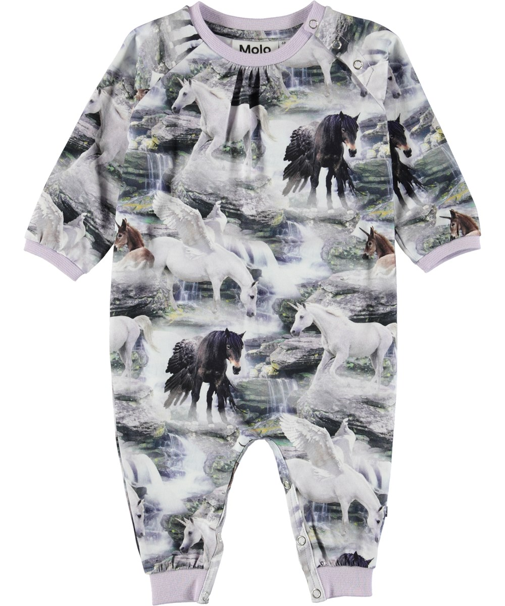 Francine - Mythical Creatures - Baby romper with unicorns.
