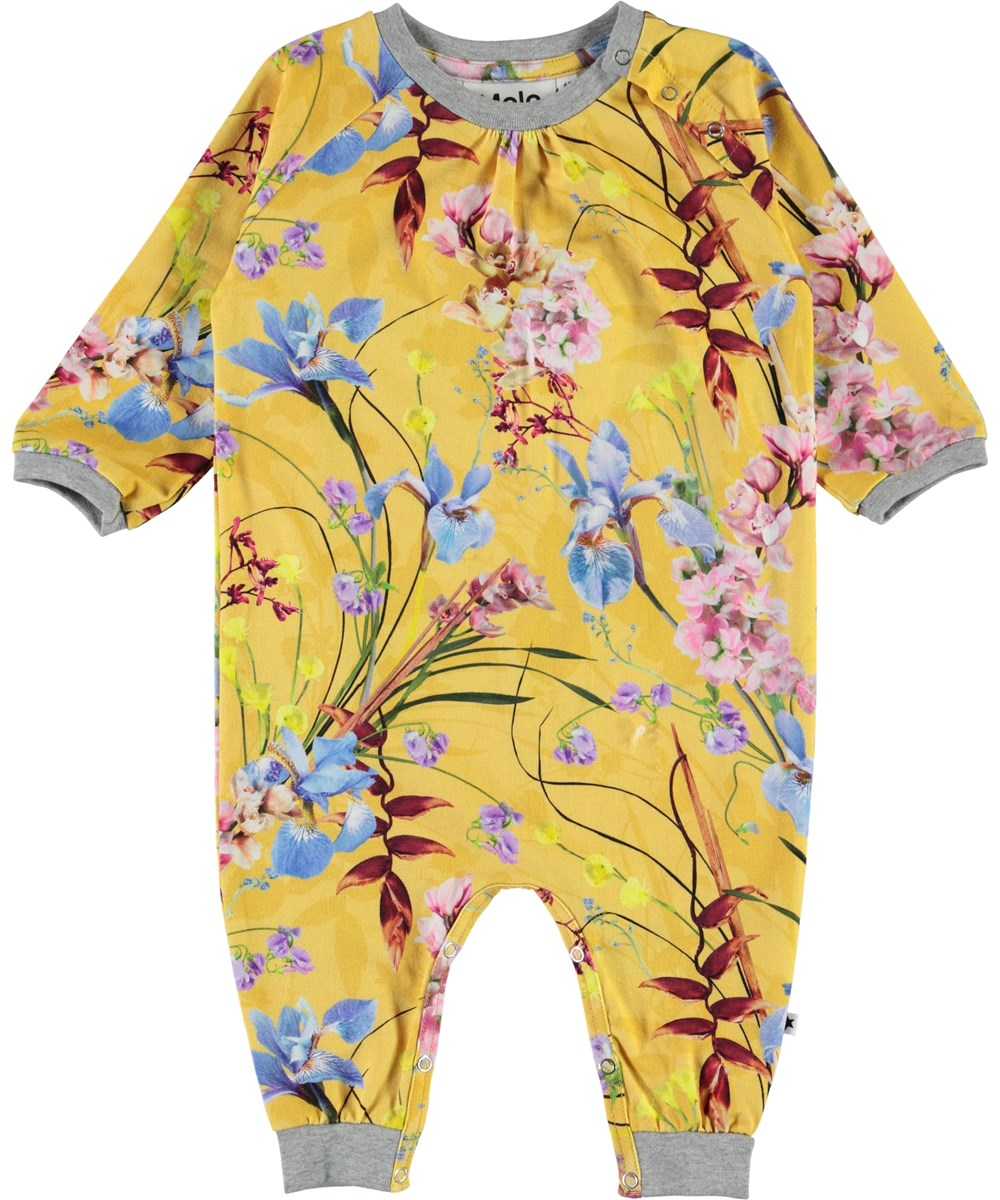 Francine - The Art Of Flowers - Yellow organic baby romper