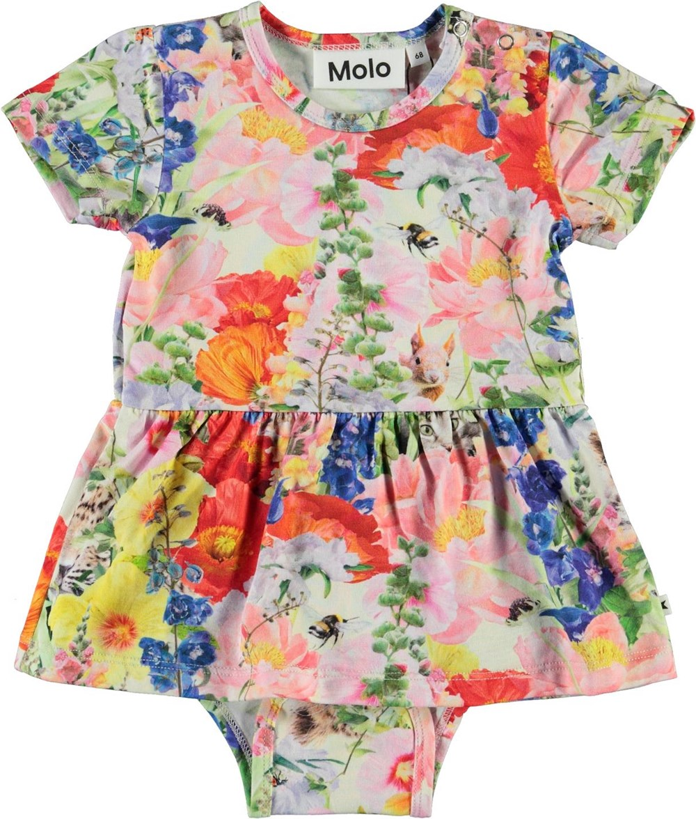 Frannie - Hide And Seek - Baby bodysuit with a floral print and skirt