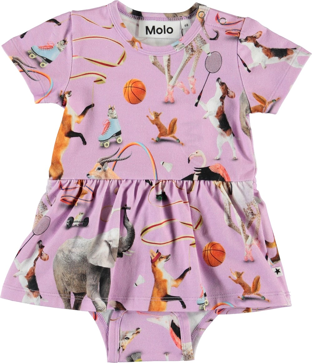 Frannie - Made For Motion - Purple bodysuit with animals and peplum