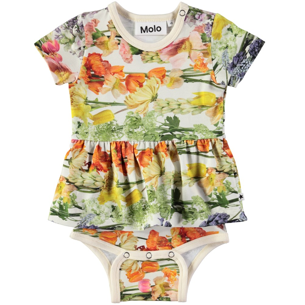 Frannie - Rainbow Bloom - Short sleeve baby bodysuit with digital flower print and peplum