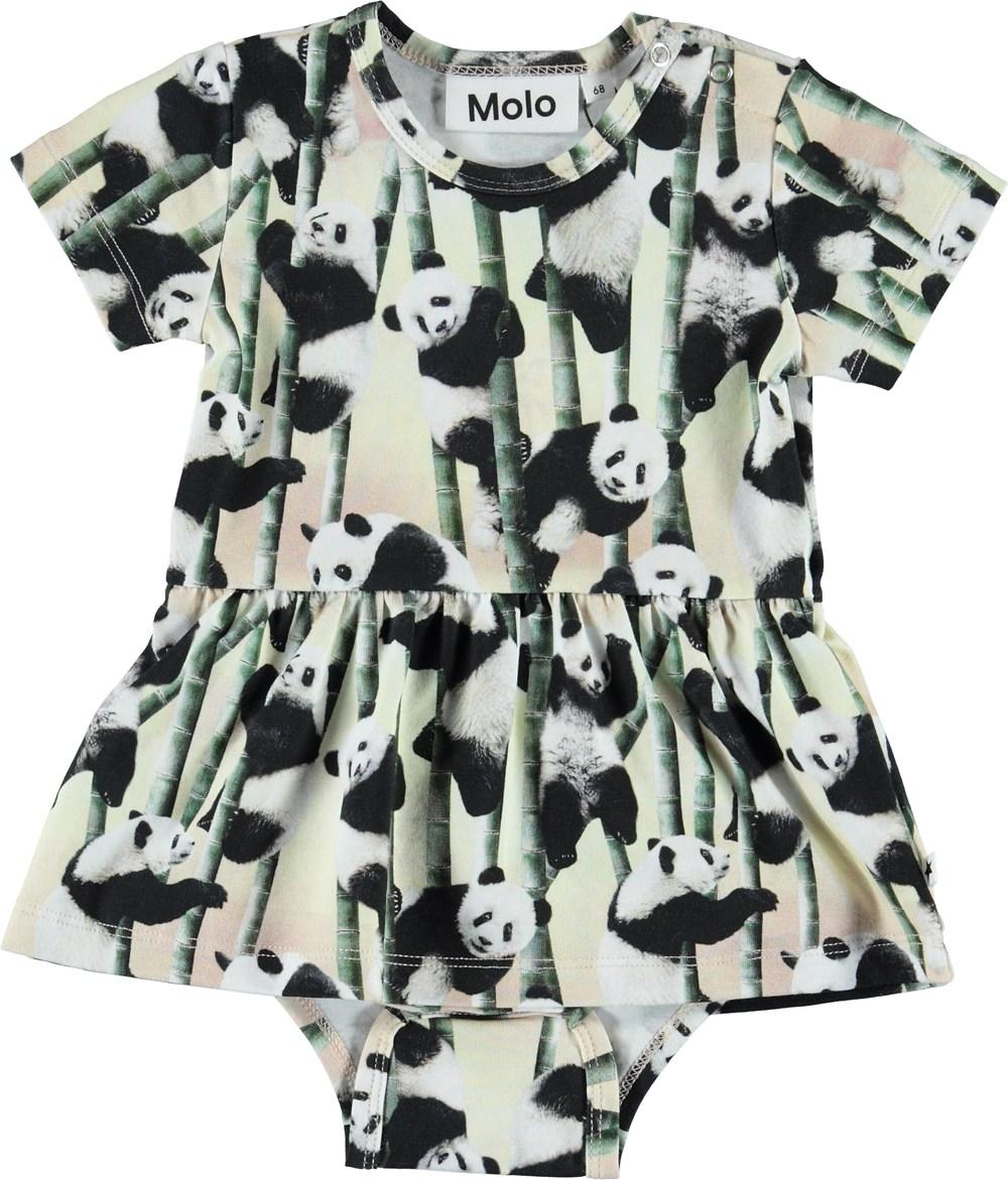 Frannie - Yin Yang - Organic baby bodysuit with pandas and a peplum