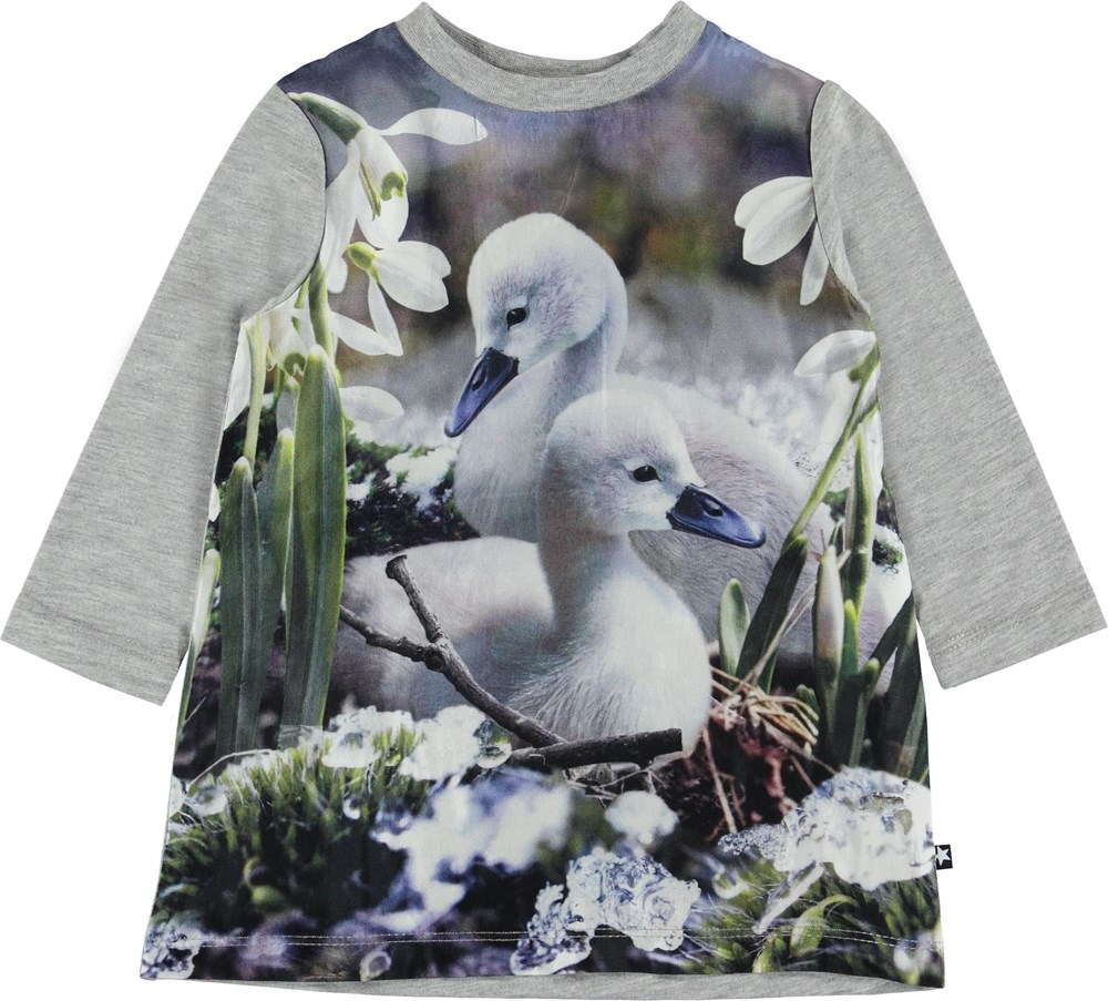 Caci - Duckling Lake - Baby dress with young swans.