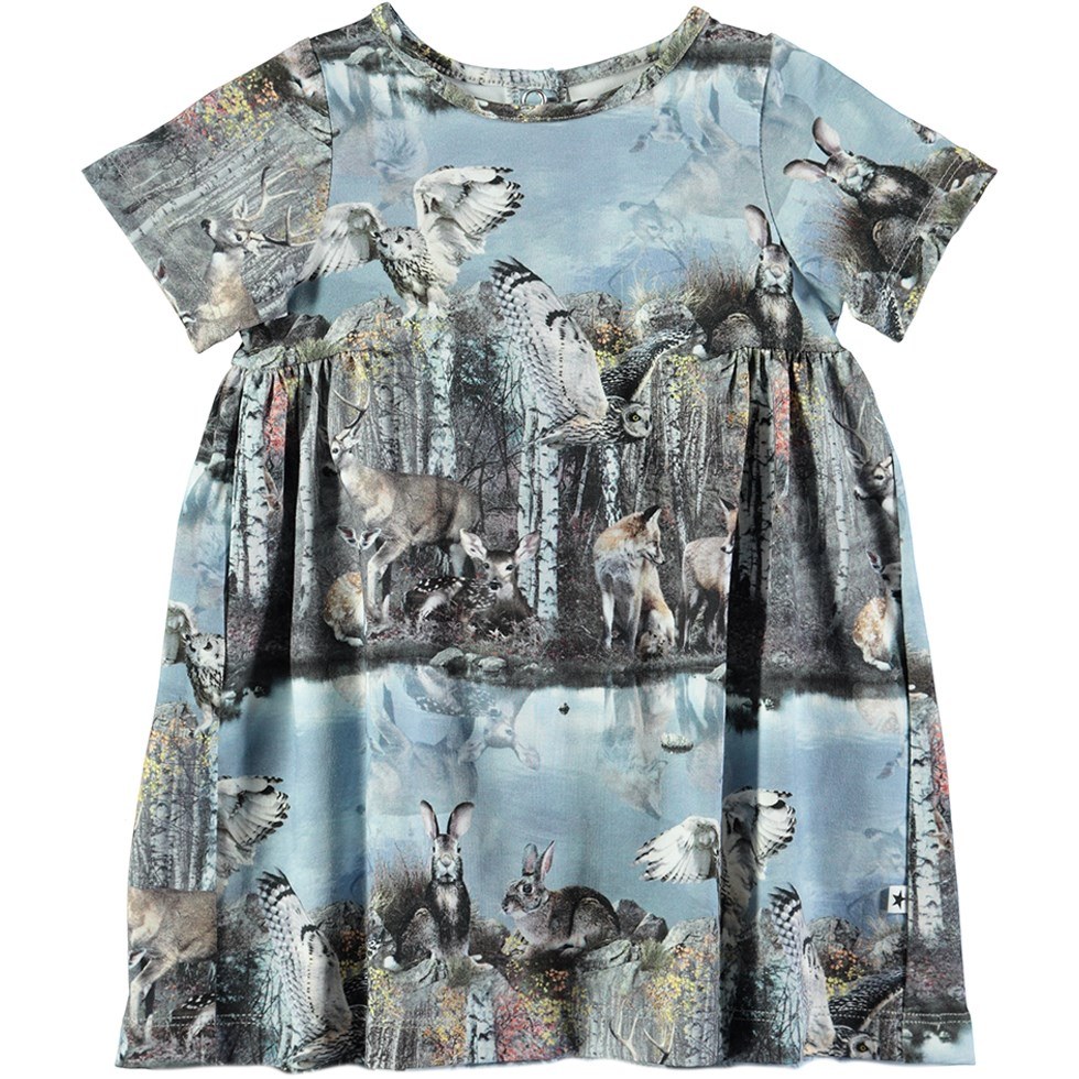 Calypso - By The Forest Lake - Short sleeve baby dress with digital animal print