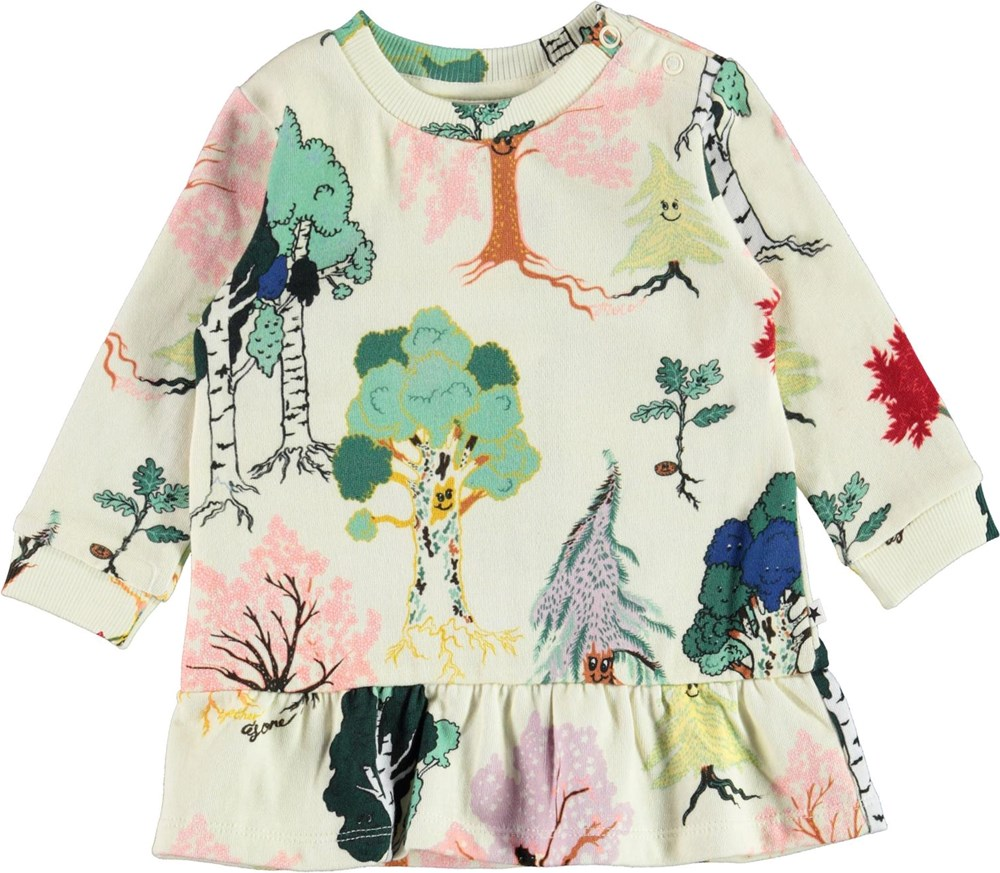 Calypso - Forest Friends - Organic baby dress with trees