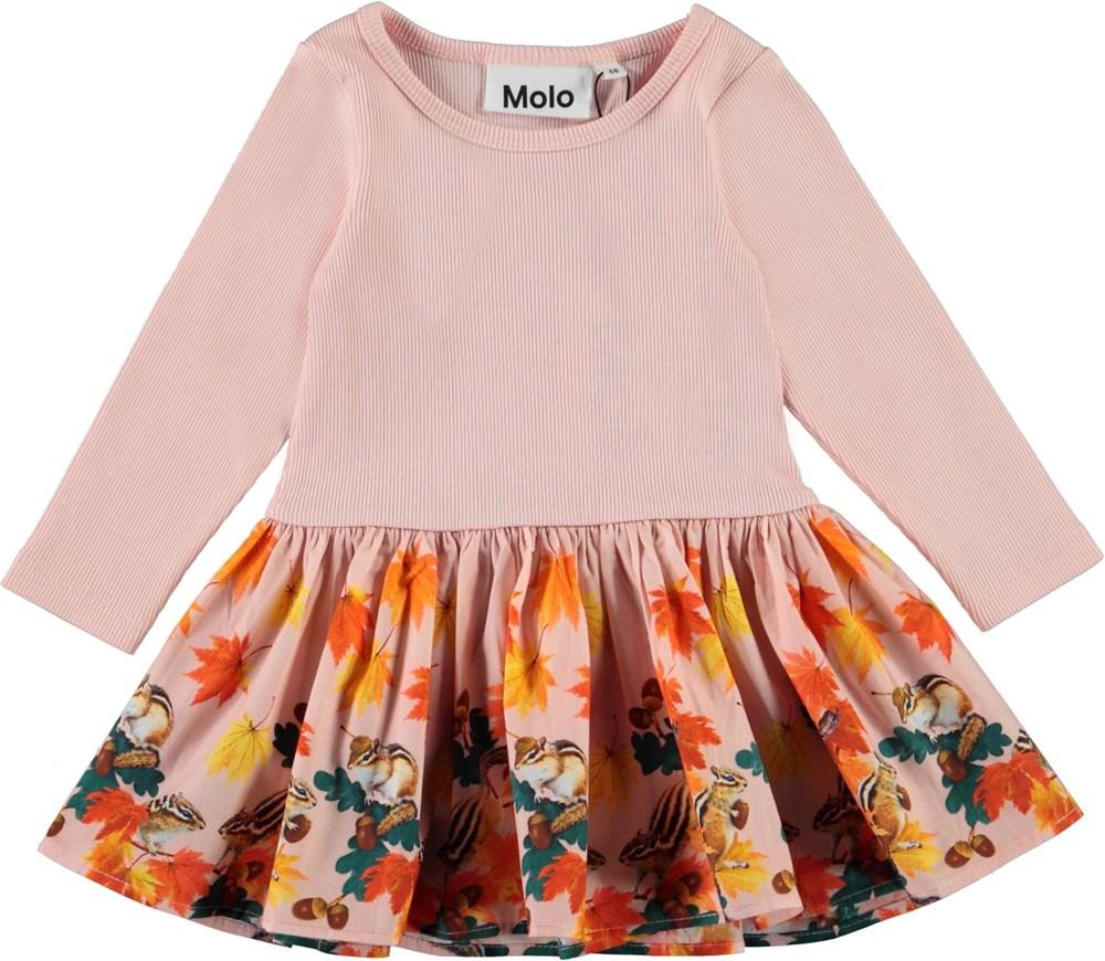 Candi - Chipmunks_Baby - Pink organic baby dress with squirrel print