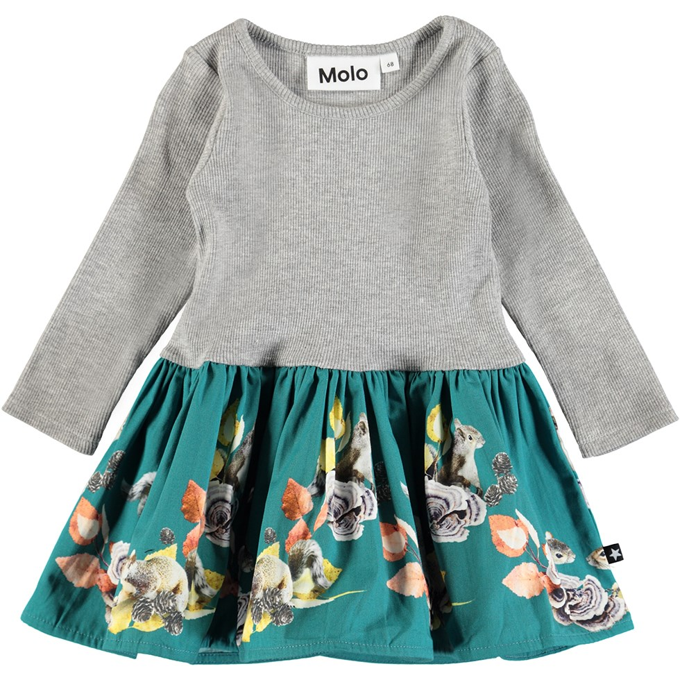 Candi - Playful Squirrels Baby - Baby dress in a two-part look with digital squirrel print