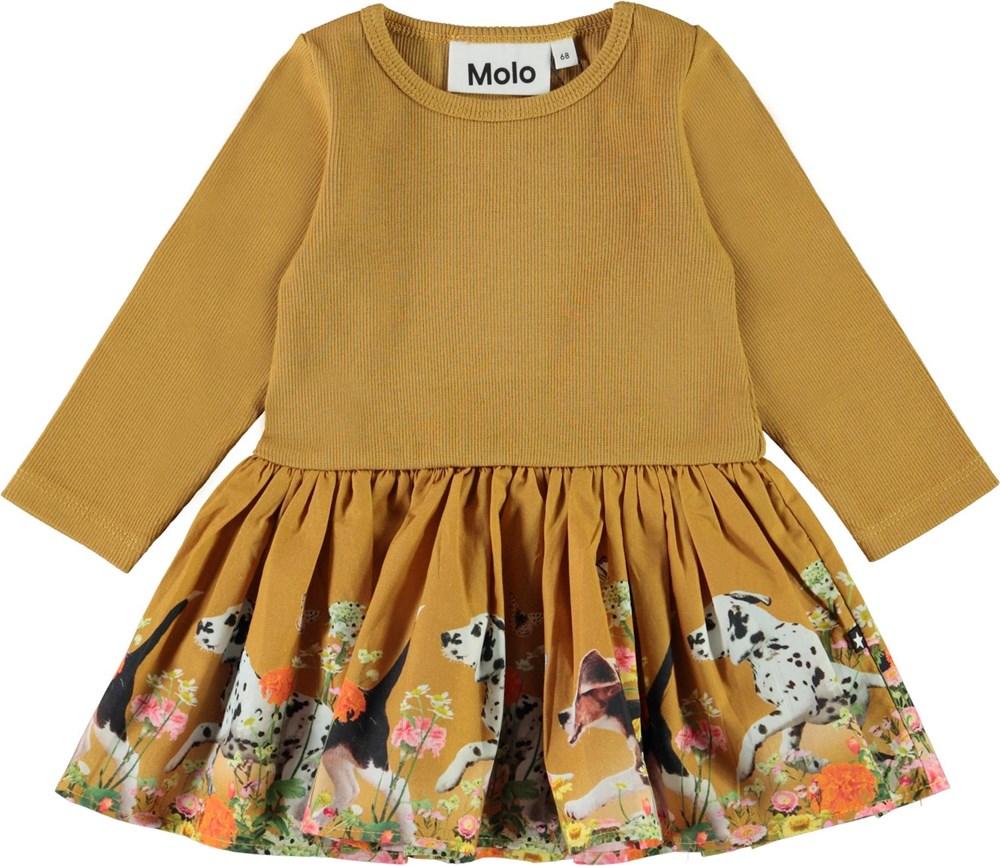 Candi - Run Wild_Baby - Yellow baby dress with rib and dog print