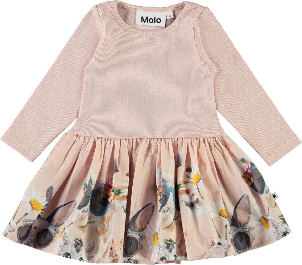 Candi - With Friends - Pink baby dress with rib and animals