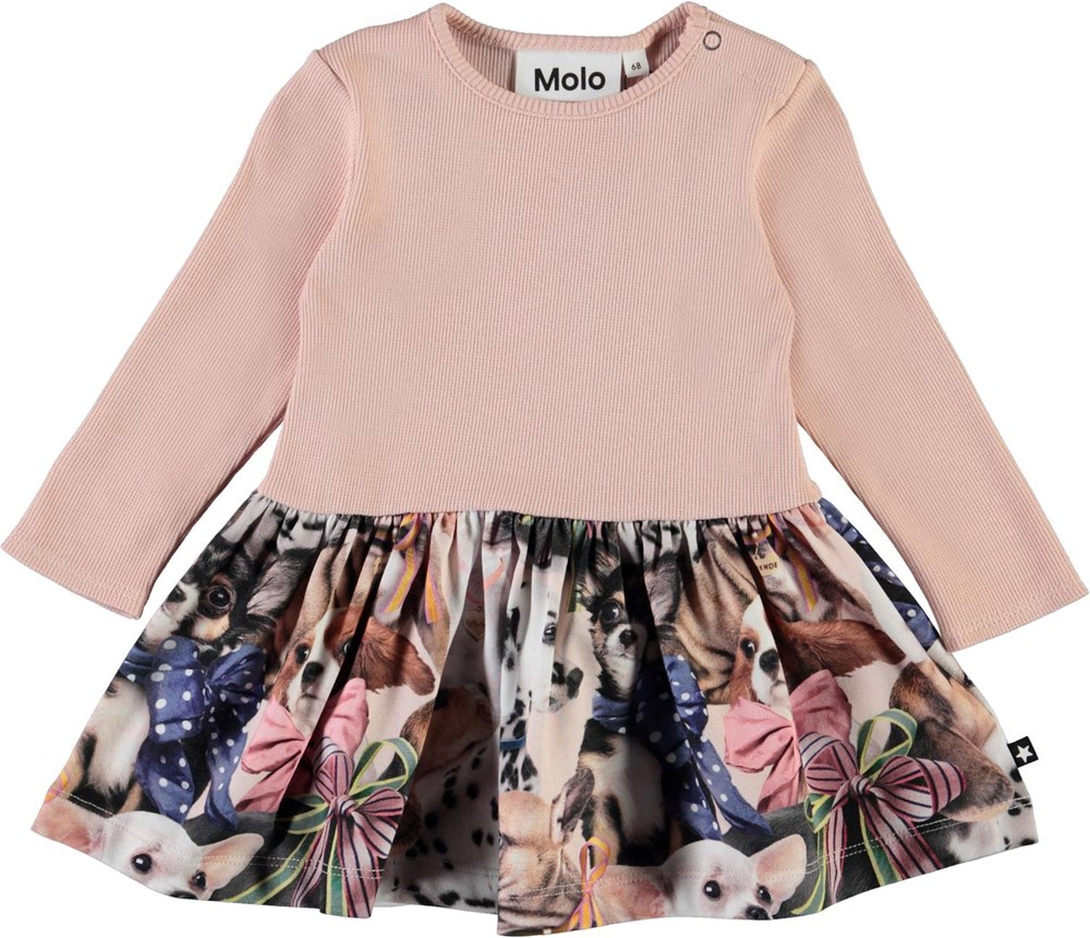 Carel -  Puppy Love - Pink organic baby dress with dogs