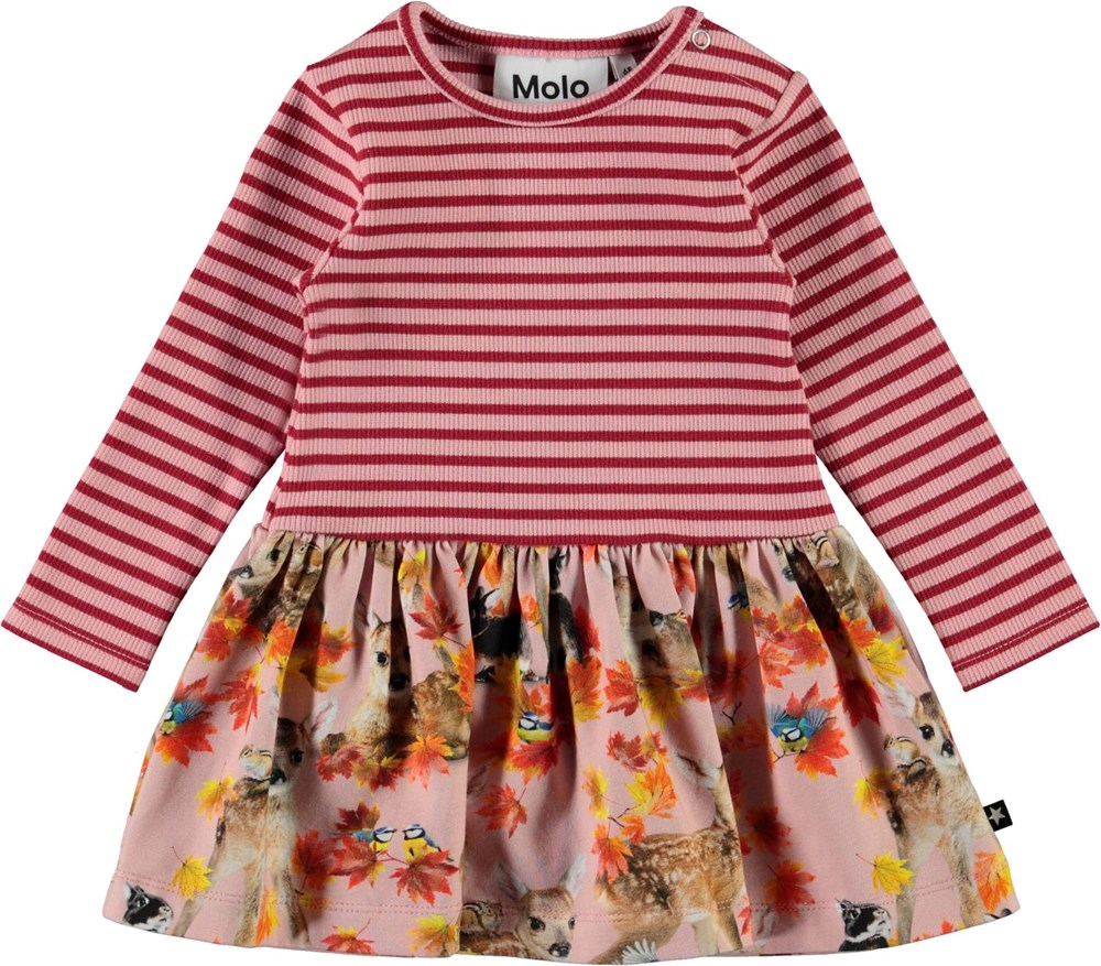 Carel - Autumn Fawns - Pink organic baby dress with stripes and deer