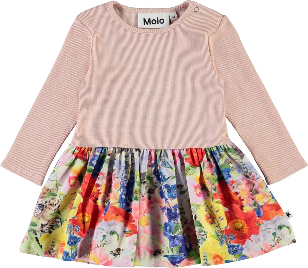 Carel - Hide And Seek - Pink baby dress with floral print