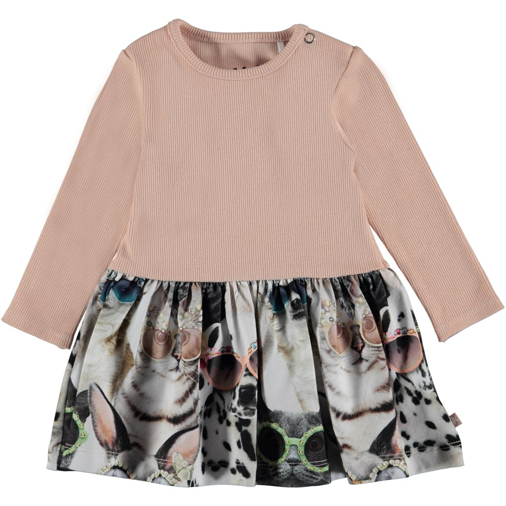 Carel - Sunny Funny - Baby dress with a solid coloured top and printed skirt.