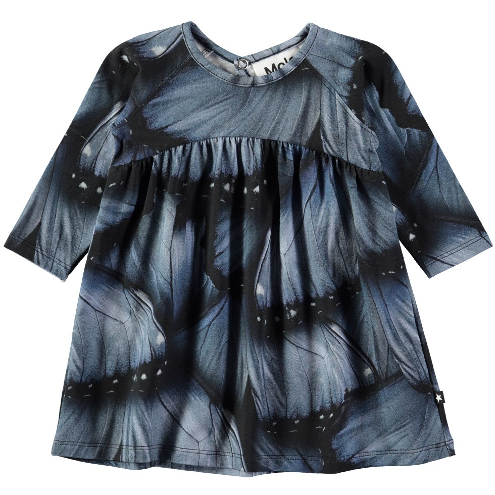 Carlys - Velvet Wings Jersey - Roomy baby dress with digital blue wing print