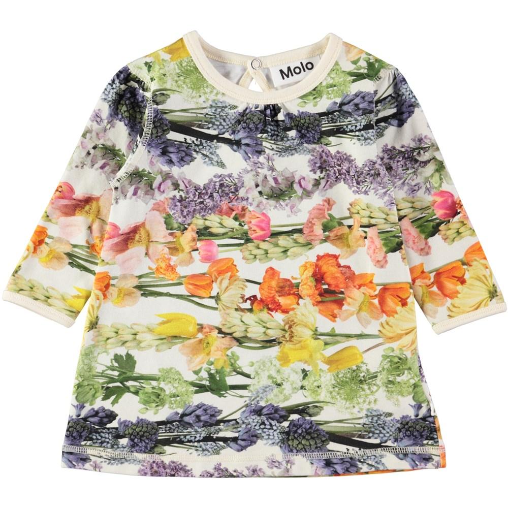 Caroline - Rainbow Bloom - Sweet, long sleeve baby dress with digital flower print