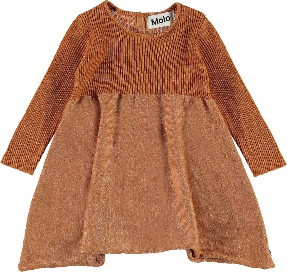 Cass - Deer - Golden bronze coloured baby knit dress