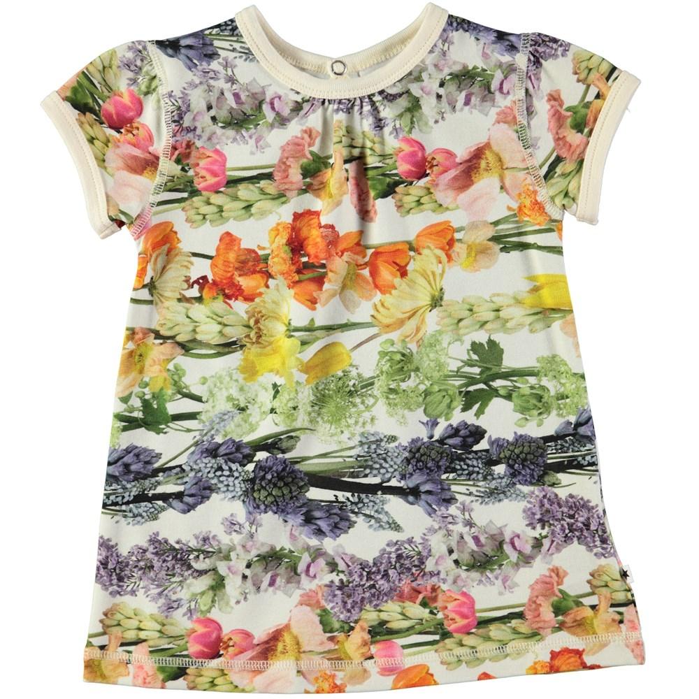 Cathleen - Rainbow Bloom - Short sleeve dress with digital flower print