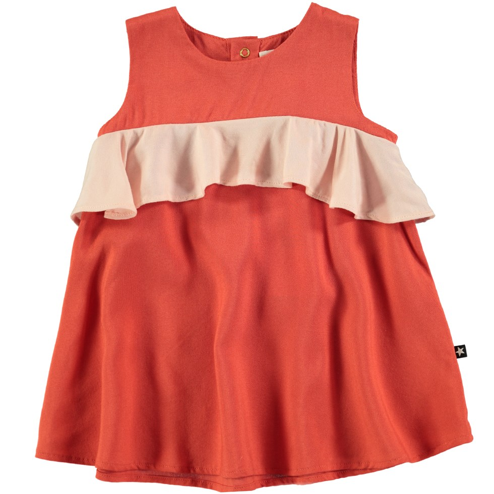 Catja - Burnt Sienna - Lovely red baby dress with ruffle edge