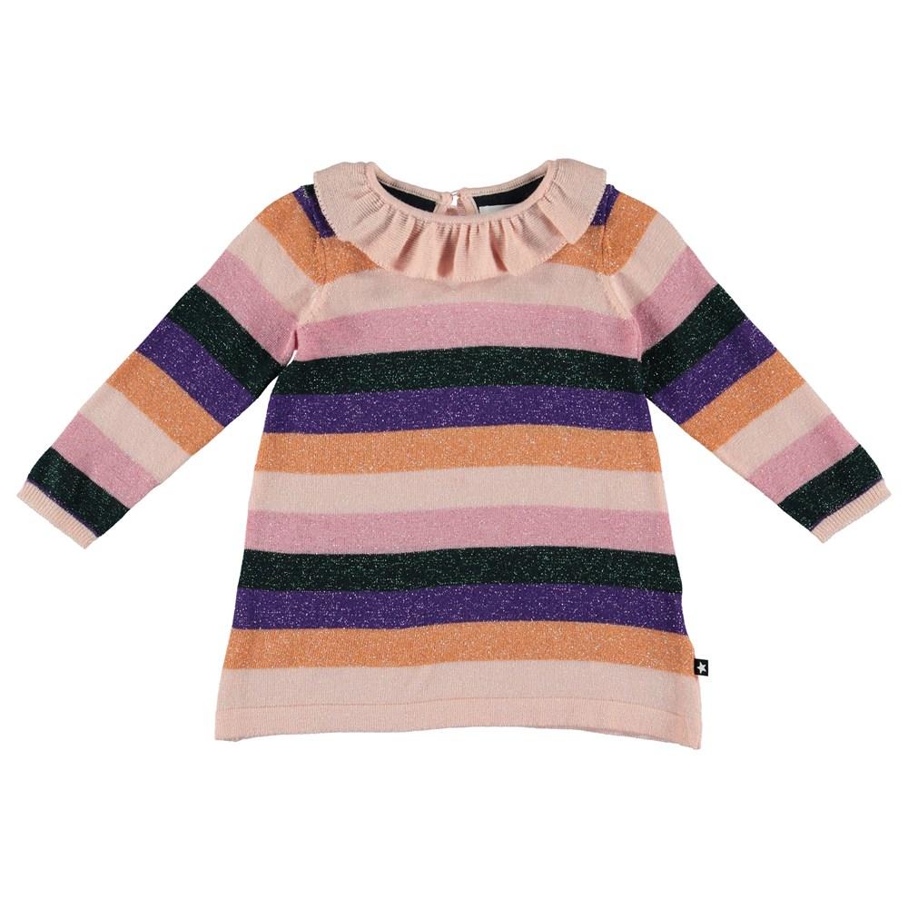 Cerys - Rainbow Magic - Rainbow striped, knit baby dress