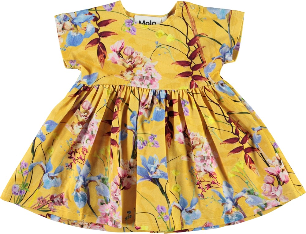 Channi - The Art Of Flowers - Organic baby dress with animals