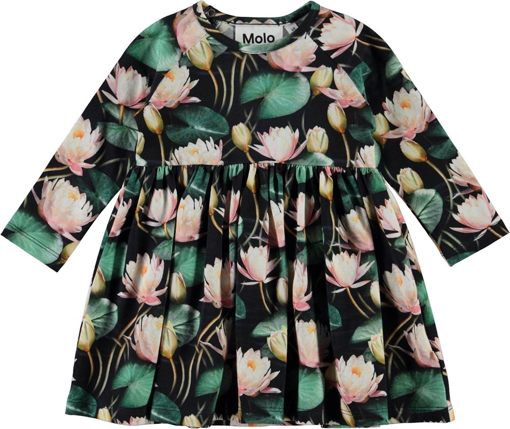 Charmaine - Water Lilies - Organic baby dress with water lily