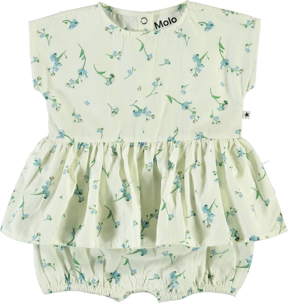 Chaya - Forget Me Not - Organic baby romper with blue flowers