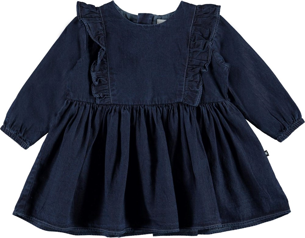 Chocho - Dark Indigo - Dark blue denim baby dress with ruffles