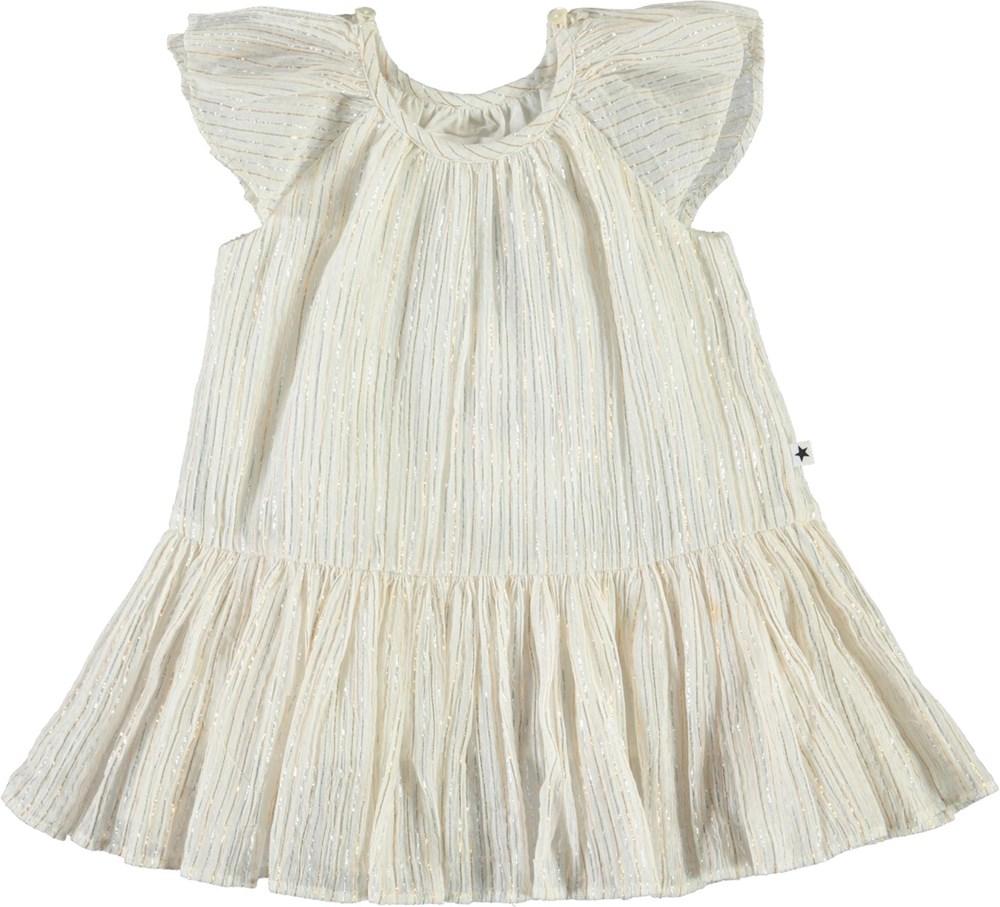 Cindie - Metalic Stripe - White baby dress with metallic stripes