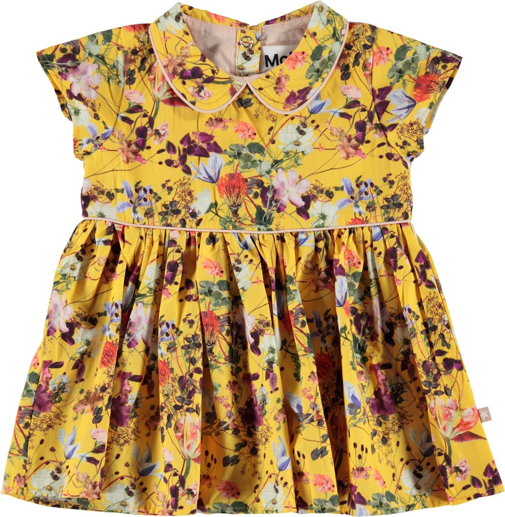 Cinna - Sunrise Flowers - Yellow poplin dress with flowers.
