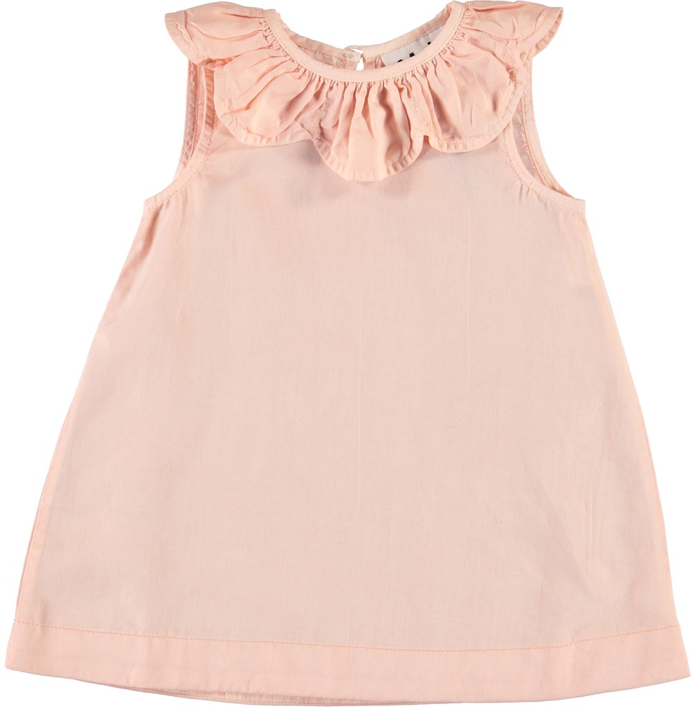 Clarella - Powder - Rose baby dress with collar