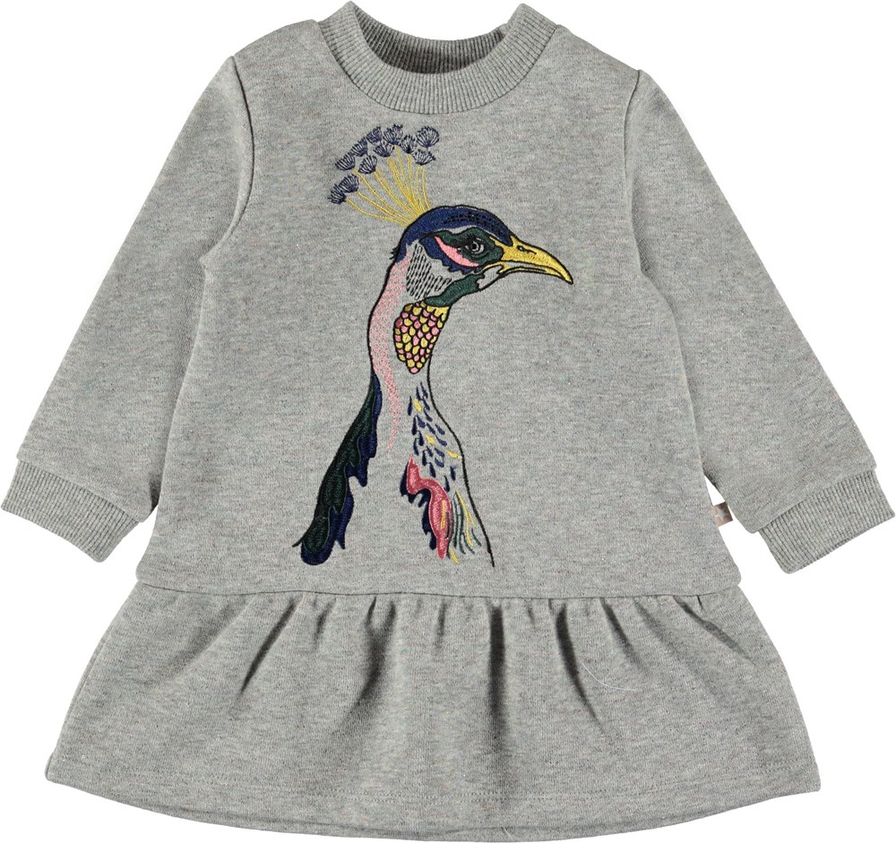 Claribella - Sweetie Peacock - Grey baby sweatshirt dress.
