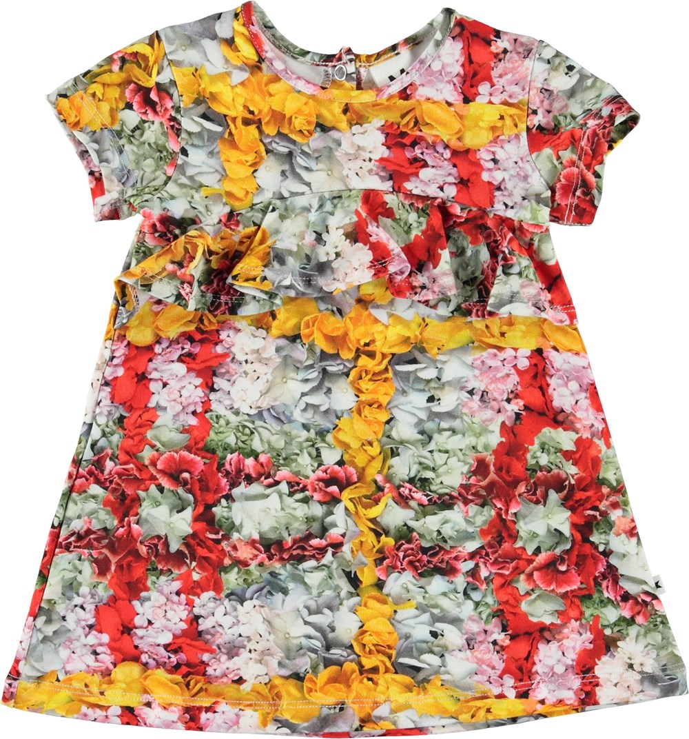 Cloud - Checked Flowers - Baby dress with flowers.