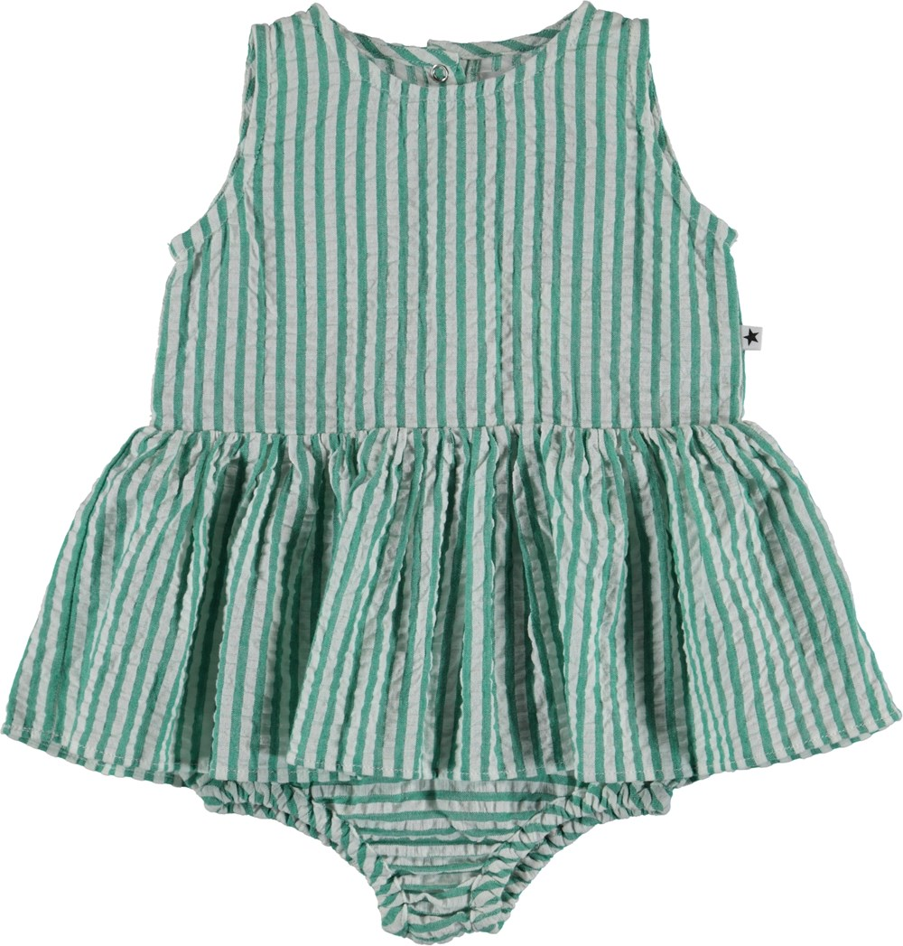 Cloudia - Green Stripe - Baby Bodysuit