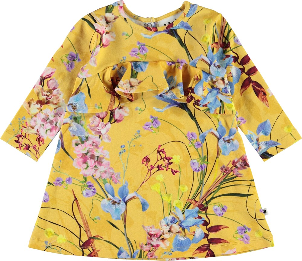 Coletta - The Art Of Flowers - Yellow baby dress with ruffle