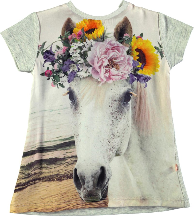 Corina - Flicka Baby - Short sleeve grey melange dress in a horse print