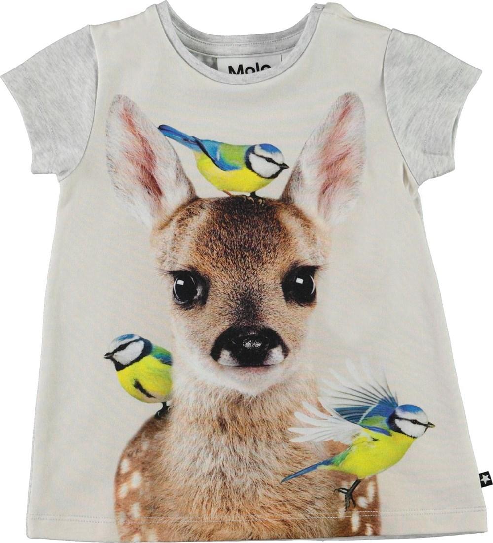 Corina - Little Fawn - Grey organic baby dress with deer and birds