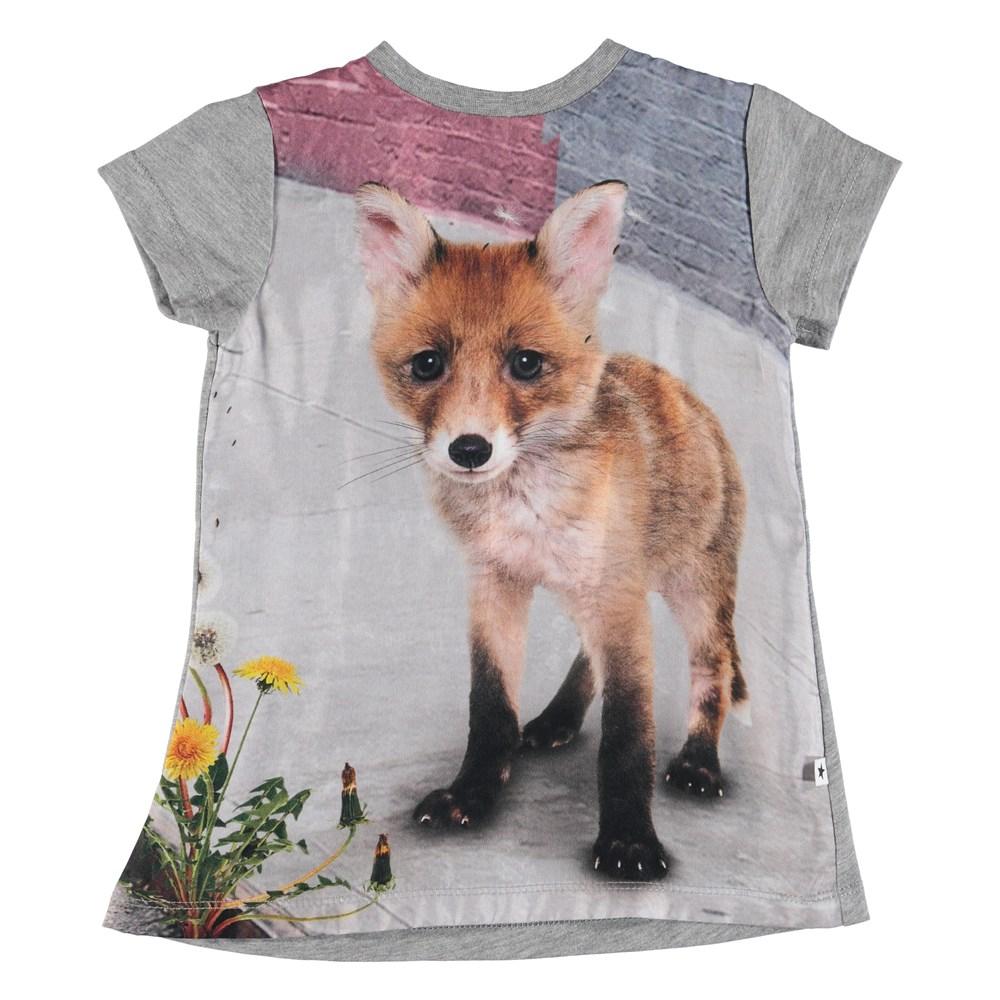 Corina - Urban Fox Baby - Short sleeve baby dress with digital fox print